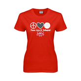 Ladies Red T Shirt-Peace, Love and Volleyball Design