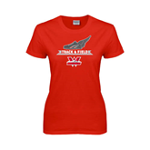 Ladies Red T Shirt-Track and Field Side Shoe Design