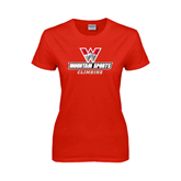 Ladies Red T Shirt-Climbing