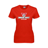 Ladies Red T Shirt-Cycling