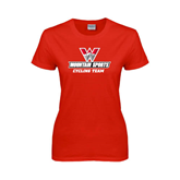 Ladies Red T Shirt-Cycling Team