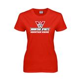 Ladies Red T Shirt-Mountain Biking