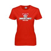 Ladies Red T Shirt-Skiing
