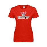 Ladies Red T Shirt-Snowboarding