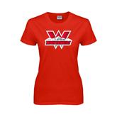 Ladies Red T Shirt-Interlocking W Mountaineers - Official Logo