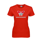 Ladies Red T Shirt-W Mountaineers