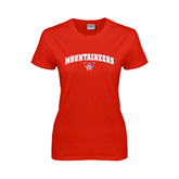 Ladies Red T Shirt-Arched Mountaineers w/ W
