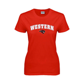 Ladies Red T Shirt-Arched Western w/ Mad Jack