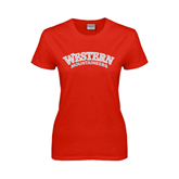 Ladies Red T Shirt-Arched Western Mountaineers