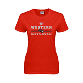 Ladies Red T Shirt-Western Mountaineers Stacked w W and Mad Jack