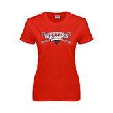 Ladies Red T Shirt-Baseball Crossed Bats Design