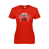 Ladies Red T Shirt-Basketball in Ball