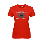 Ladies Red T Shirt-Cross Country Design