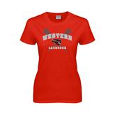 Ladies Red T Shirt-Lacrosse Crossed Sticks