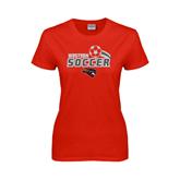 Ladies Red T Shirt-Soccer Swoosh Design