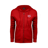 ENZA Ladies Red Fleece Full Zip Hoodie-Interlocking W Mountaineers - Official Logo