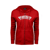 ENZA Ladies Red Fleece Full Zip Hoodie-Arched Western Mountaineers