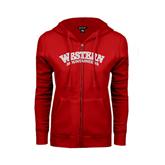 ENZA Ladies Red Fleece Full Zip Hoodie-Arched Western Mountaineers