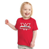 Toddler Red T Shirt-Interlocking W Mountaineers - Official Logo