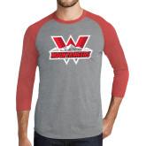 Grey/Red Heather Tri Blend Baseball Raglan-Interlocking W Mountaineers - Official Logo