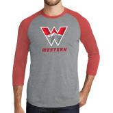 Grey/Red Heather Tri Blend Baseball Raglan-W Western