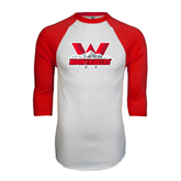 White/Red Raglan Baseball T-Shirt-Interlocking W Mountaineers - Official Logo