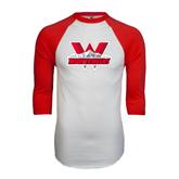 White/Red Raglan Baseball T-Shirt-Interlocking W Mountaineers - Official Logo