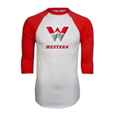 White/Red Raglan Baseball T-Shirt-W Western