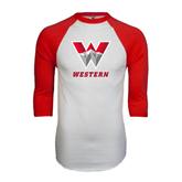 White/Red Raglan Baseball T-Shirt-W Western