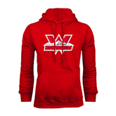 Red Fleece Hoodie-Interlocking W Mountaineers - Official Logo