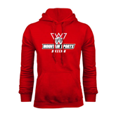Red Fleece Hoodie-Skiing