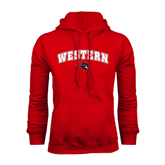 Red Fleece Hoodie-Arched Western w/ Mad Jack