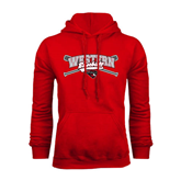 Red Fleece Hoodie-Baseball Crossed Bats Design