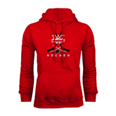 Red Fleece Hoodie-Hockey Crossed Sticks Design