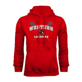 Red Fleece Hoodie-Lacrosse Crossed Sticks