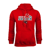 Red Fleece Hoodie-Soccer Swoosh Design