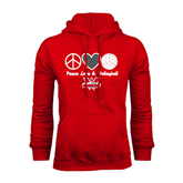 Red Fleece Hoodie-Peace, Love and Volleyball Design