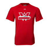 Under Armour Red Tech Tee-Interlocking W Mountaineers - Official Logo