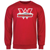 Red Fleece Crew-Interlocking W Mountaineers - Official Logo