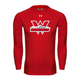 Under Armour Red Long Sleeve Tech Tee-Interlocking W Mountaineers - Official Logo