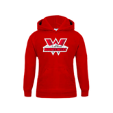 Youth Red Fleece Hoodie-Interlocking W Mountaineers - Official Logo
