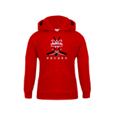 Youth Red Fleece Hoodie-Hockey Crossed Sticks Design