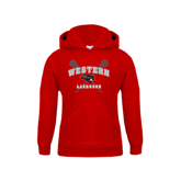 Youth Red Fleece Hoodie-Lacrosse Crossed Sticks