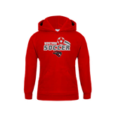 Youth Red Fleece Hoodie-Soccer Swoosh Design
