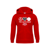 Youth Red Fleece Hoodie-Peace, Love and Volleyball Design