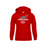 Youth Red Fleece Hoodie-Track and Field Side Shoe Design