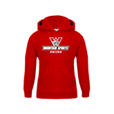 Youth Red Fleece Hoodie-Skiing