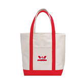 Contender White/Red Canvas Tote-Interlocking W Mountaineers - Official Logo