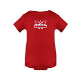 Red Infant Onesie-Interlocking W Mountaineers - Official Logo