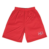 Syntrel Performance Red 9 Inch Length Shorts-Interlocking W Mountaineers - Official Logo